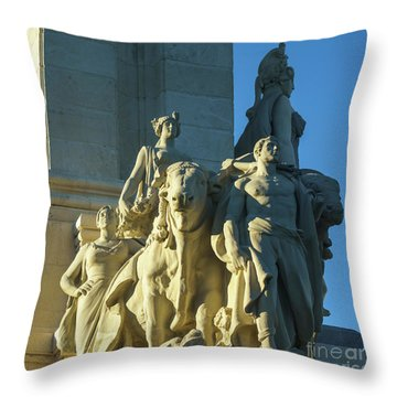 Throw Pillow featuring the photograph Agriculture Allegorie Monument To The Constitution Of 1812 Cadiz Spain by Pablo Avanzini