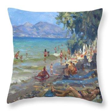 Agrilesa Beach Athens  Throw Pillow