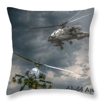 Ah-64 Apache Attack Helicopter In Flight Throw Pillow