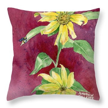 Throw Pillow featuring the painting Ah Sunflowers by Andrew Gillette