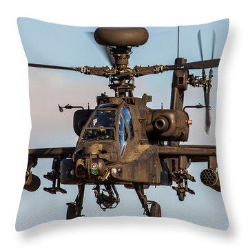 Ah64 Apache Flying Throw Pillow by Ken Brannen