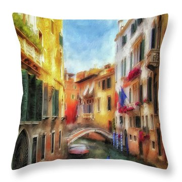 Throw Pillow featuring the digital art Ahh Venezia Painterly by Lois Bryan