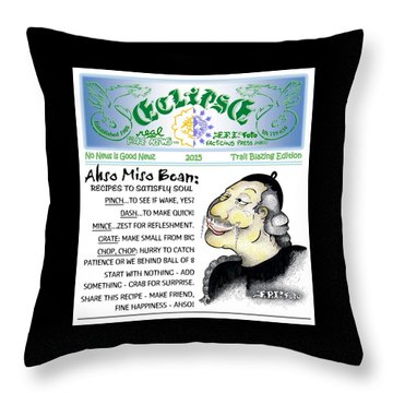 Real Fake News Recipe Column 1 Throw Pillow by Dawn Sperry