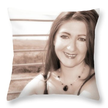Aimee's Eyes Throw Pillow by Molly McPherson
