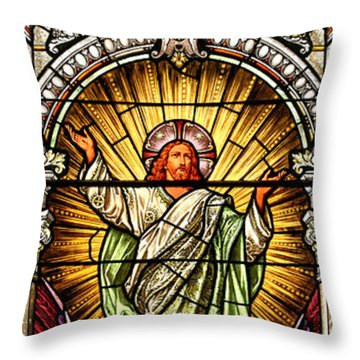 Throw Pillow featuring the photograph Stained Glass Scene 10 Crop by Adam Jewell
