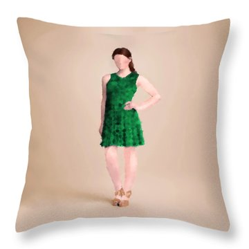 Throw Pillow featuring the digital art Ainsley by Nancy Levan