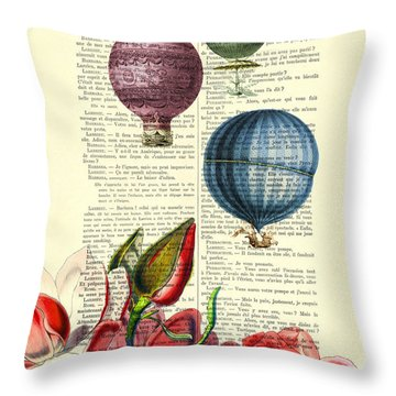 Hot Air Balloons Above Flower Field Throw Pillow