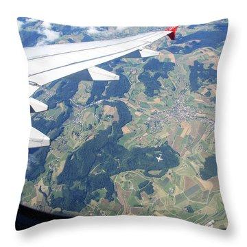 Air Berlin Over Switzerland Throw Pillow