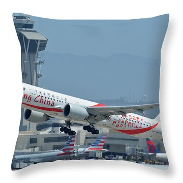 Throw Pillow featuring the photograph Air China Boeing 777-39ler B-2035 Smiling China Los Angeles International Airport May 3 2016 by Brian Lockett