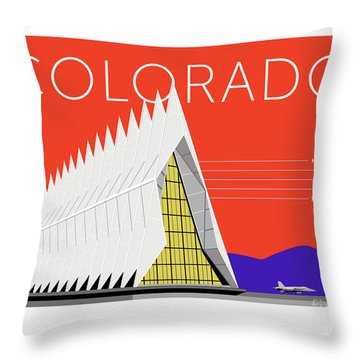 Throw Pillow featuring the digital art Air Force Academy Orange by Sam Brennan