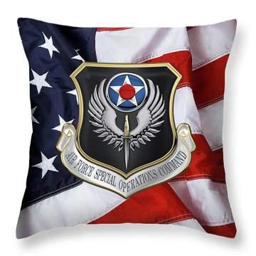 Air Force Special Operations Command -  A F S O C  Shield Over American Flag Throw Pillow by Serge Averbukh