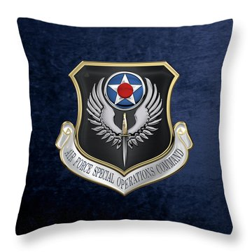 Air Force Special Operations Command -  A F S O C  Shield Over Blue Velvet Throw Pillow by Serge Averbukh