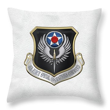 Air Force Special Operations Command -  A F S O C  Shield Over White Leather Throw Pillow by Serge Averbukh