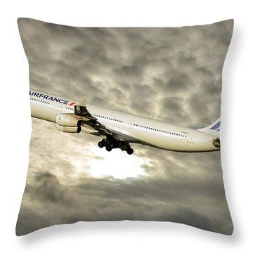 Air France Airbus A340-313 115 Throw Pillow