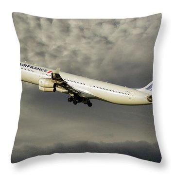 Air France Airbus A340-313 116 Throw Pillow