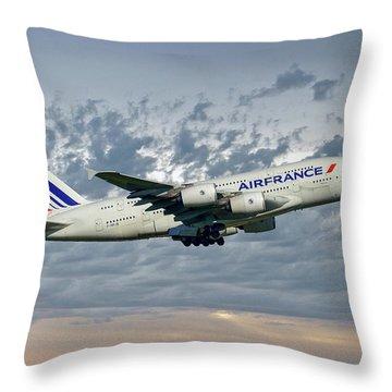 Air France Airbus A380-861 113 Throw Pillow
