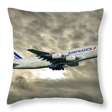 Air France Airbus A380-861 115 Throw Pillow
