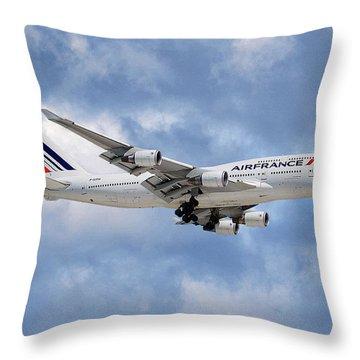 Air France Boeing 747-428 118 Throw Pillow