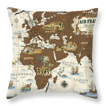 Air France - Historical Illustrated Map Of The World - Lucien Boucher - Cartography Throw Pillow