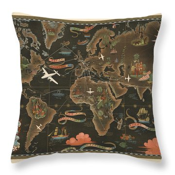 Air France - Historical Illustrated Map Of The World - Pictorial Map - Cartography Throw Pillow
