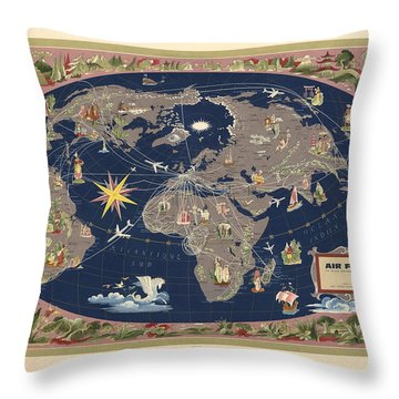 Air France - Illustrated Map Of The Air Routes By Lucien Boucher - Historical Map Of The World Throw Pillow