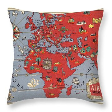 Air France - Vintage Illustrated Map Of The World By Lucien Boucher - Cartography Throw Pillow