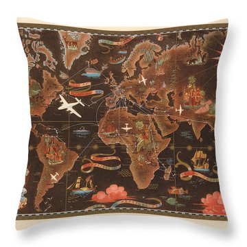 Air France - Vintage Illustrated Map Of The World - Lucien Boucher - Cartography Throw Pillow
