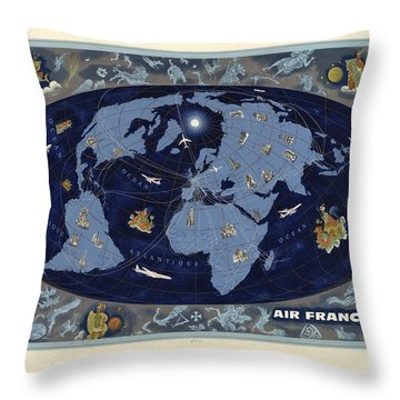Air France - Vintage Illustrated World Map - Lucien Boucher - Air Routes Throw Pillow
