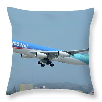 Throw Pillow featuring the photograph Air Tahiti Nui Airbus A340-313x F-osea Los Angeles International Airport May 3 2016 by Brian Lockett