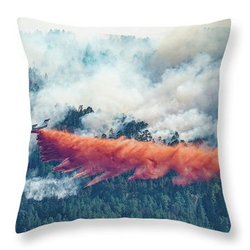 Air Tanker On Crow Peak Fire Throw Pillow