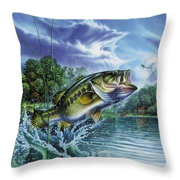 Airborne Bass Throw Pillow by Jon Q Wright