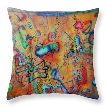 Digital Landscape, Airbrush 1 Throw Pillow by Pierre Van Dijk