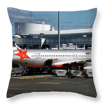Throw Pillow featuring the photograph Airbus A320-232 by Tim Beach