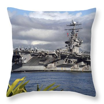 Aircraft Carrier Uss Abraham Lincoln Throw Pillow by Stocktrek Images