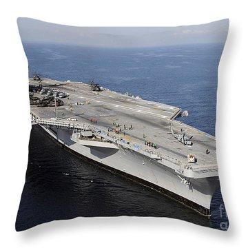 Aircraft Carrier Uss Carl Vinson Throw Pillow