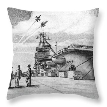 Aircraft Carrier Throw Pillow by Vic Delnore