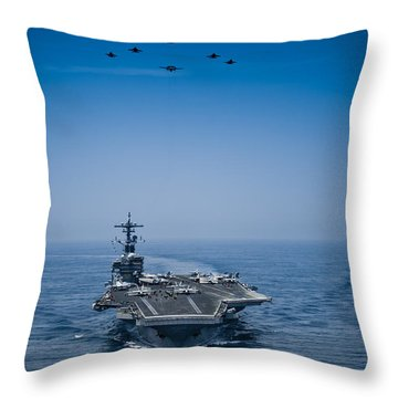 Throw Pillow featuring the photograph Aircraft From Carrier Air Wing by Celestial Images