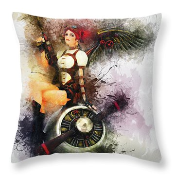 Aircraft Girl Throw Pillow