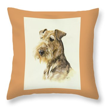 Airedale Throw Pillow by Barbara Keith
