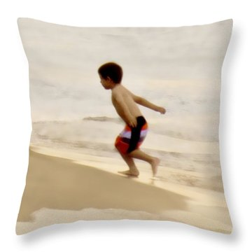 Airplane Boy Throw Pillow by John Hansen
