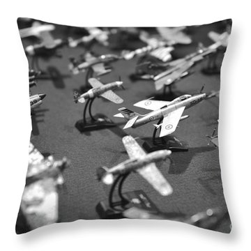 Airplane Collection - Black And White Throw Pillow