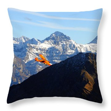 Airplane In Front Of The Alps Throw Pillow