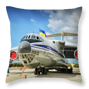 Airplane In Malta Airport Throw Pillow by Stephan Grixti