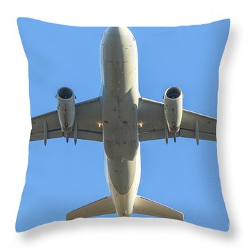 Airplane Isolated In The Sky Throw Pillow