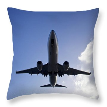 Airplane Landing Throw Pillow