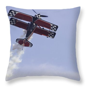 Airplane Performing Stunts At Airshow Photo Poster Print Throw Pillow by Keith Webber Jr