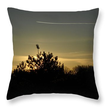 Airplane Trail In The Dawn Sky Throw Pillow by Kent Lorentzen