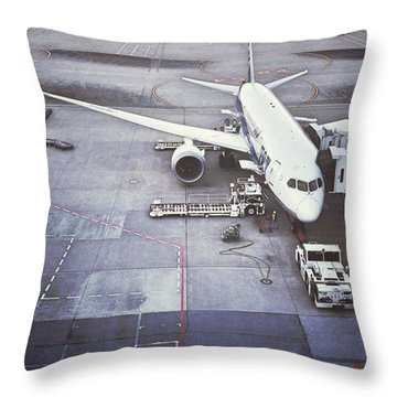 An Airport And Airplane Throw Pillow