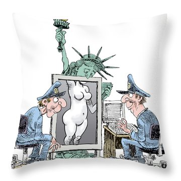 Airport Security And Liberty Throw Pillow