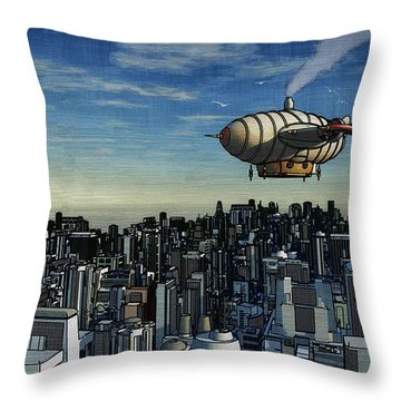 Airship Over Future City Throw Pillow